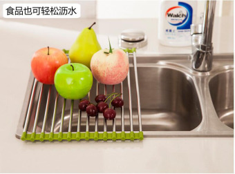 Stainless steel multi-functional folding pot holder sink drain basket drain rack