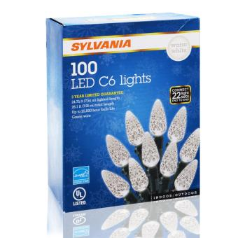 SYLVANIA 100 LED C6 Christmas Lights (Warm White)