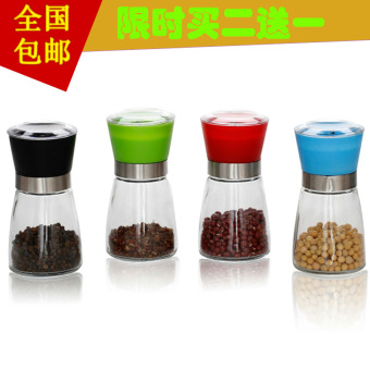 Transparent Glass cruet seasoning containers pepper powder grinder