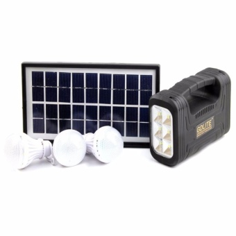 Trendsetter GD-8017A Solar Lighting System Outdoor/Indoor SolarPowered System Light Lamp 2 LED Bulbs Solar Panel-Black