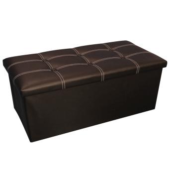 Wallmark Big Leather Ottoman Storage Box Chairs Chocolate Brown