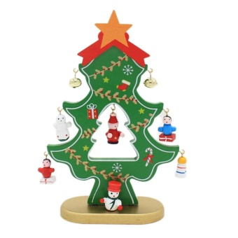 Wooden Christmas Tree Home Decoration Desk Xmas Ornament (Green) -intl