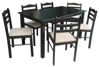 Wooden Dining Table And Chairs 6s With Cushion Seat Lazada PH