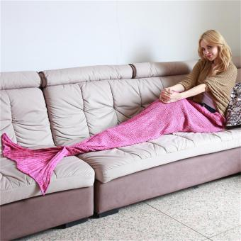 YingWei Mermaid Tail Blanket Crochet Mermaid Blanket for BabyInfant Kids Sofa Quilt Living Room Bedroom Camping Warm Soft AllSeasons Seatail Sleeping Bag Blanket Sleeping Throws 90 * 50cm(Purple Pink) - intl