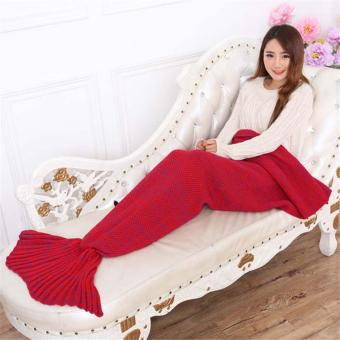 YingWei Mermaid Tail Blanket Crochet Mermaid Blanket for BabyInfant Kids Sofa Quilt Living Room Bedroom Camping Warm Soft AllSeasons Seatail Sleeping Bag Blanket Sleeping Throws 90 * 50cm(Red) - intl