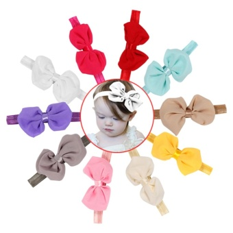 10pcs Cute Baby Headband Fabric Bowknot Flower Headwear HairbandAccessories for Toddler Kids - intl