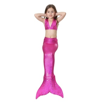 2017 Summer Baby Girl Kids Mermaid Tail Swimwear Swimsuits for Children Rainbow Mermaid Tail Bikini Bathing Suit Swimsuit Beach Wear (Rose Red) - intl