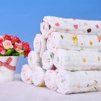 3pcs/pack 25*25cm Six Layer Gauze Square Cotton Towel Baby BibHandkerchief Baby Feeding Towel Soft Newborn Infant Saliva Bibs -intl