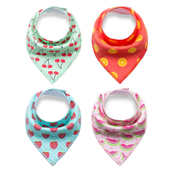 4 pcs Cotton Baby Feeding Saliva Towel Bandana Dribble Bibs - intl