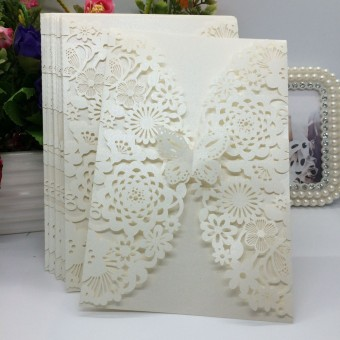 40 pcs Pearlescent Paper Flower Carved Pattern Invitation Cards for Wedding & Party (Beige)