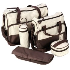 designer nappy bags jkma  5-piece Baby Changing Diaper Nappy Bag Handbag Multifunctional Bags Set  Brown