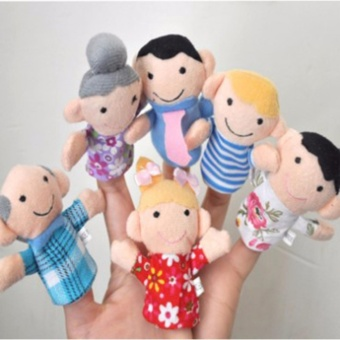 6pcs/lot 7cm Lovely Family Finger Puppets Cloth Baby EducationalHand Story Plush Doll Toys For Kids Gifts - intl