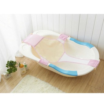 Adjustable Newborn Baby Bathtub Seat Support Shower Sling Hammock Net Safety Security Pink