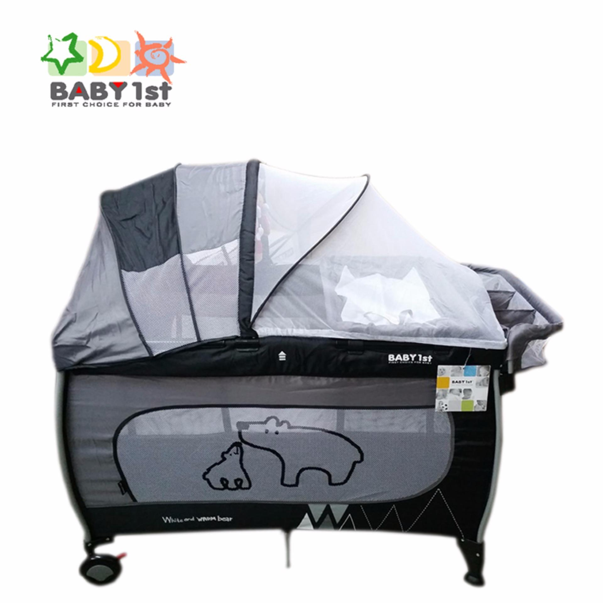 Crib for babies philippines - Baby 1st P 516pa Portable Playpen Diaper Changer 2nd Decker With Rocker Gray