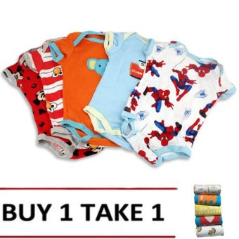 Baby Boy Printed Bodysuits Set of 5 (Multicolor) Buy 1 Take 1Assorted design & Color