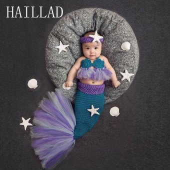 Baby Crochet Photography Props Princess Girl Mermaid Costume forPhoto Shoot - intl