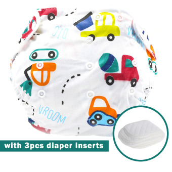 BABY STEPS Cars Baby Diapers with 3pcs Diaper Inserts