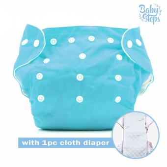 BABY STEPS Cloth Baby Diapers (Blue) with 1pc Diaper Insert