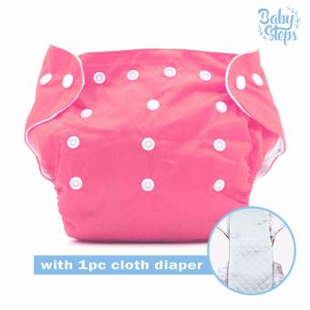 BABY STEPS Cloth Baby Diapers (Pink) with with 1pc Diaper Insert