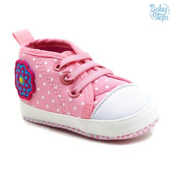 Baby Steps Flowerdots Lace Baby Girl Shoes (Pink)