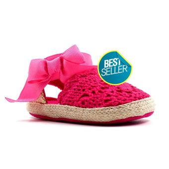 BABY STEPS Knitted Ribbon Baby Girl Shoes (Hot Pink)