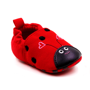 Baby Steps Lady Bug Cotton Baby Girl Shoes (Red)