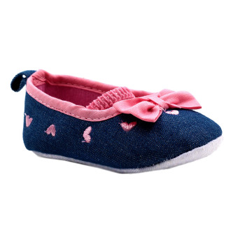 BABY STEPS Ribbon Hearts Baby Girl Shoes (Pink)