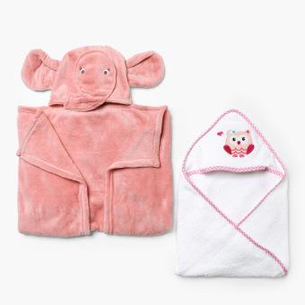 Bloom Hooded Towel and Fleece Blanket Set