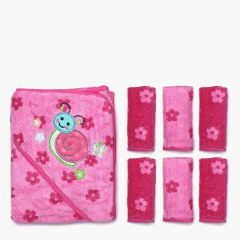 Bloom Snail and Flowers Hooded Towel and 6-piece Washcloth Set