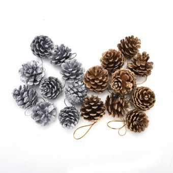 Christmas Pine Cones Baubles Santa Claus Xmas Tree Party Home DecorOrnament Gold - intl