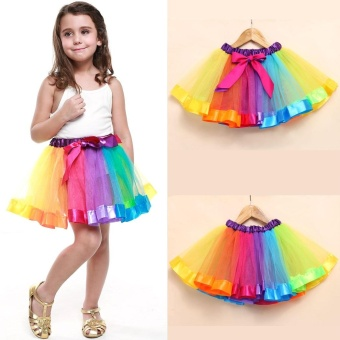 Colorful Splicing Kids Girl's Petticoat PrincessParty/Birthday/Dancing Skirt Mini Ball Gown Tutu Skirt - intl
