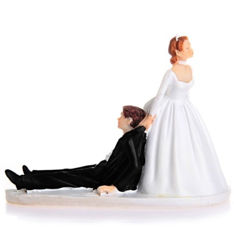 Creative Love Runaway Groom Wedding Anniversary Cake Funny CoupleTopper Figurine Now I Have You Cake Resin Decoration - intl