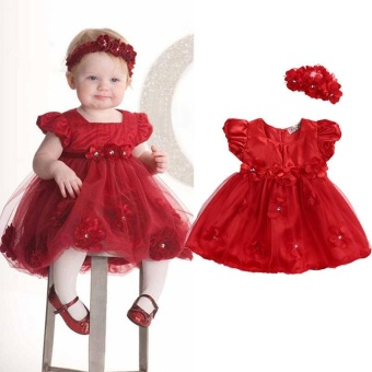 Cute Baby Girls Toddler Kids Wedding Birthday Party Pageant Tulle Dress 0-3 Year (12-24 Months) - intl