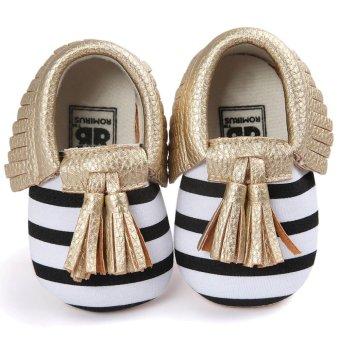 Cute Tassel Style Infant Baby Toddlers Kids Shoes with Soft SoleUnisex for Baby Girls Boys Cotton Shoe Upper Stripe + Gold Size 13Fits Babies Aged 12 to 18 Months - intl