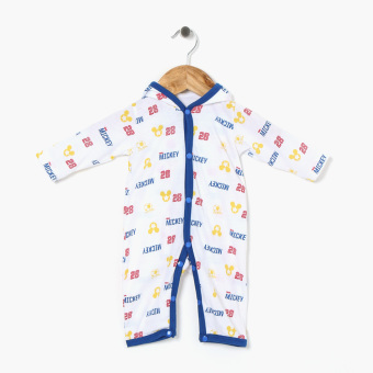 Disney Baby Boys All-Over Mickey Hooded Jumpsuit (White)