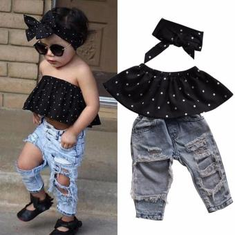 Fashion Toddler Baby Girls Black Blouse Top Hole Casual Denim Pants Outfits Set 0-3Y (Present Headband) - intl