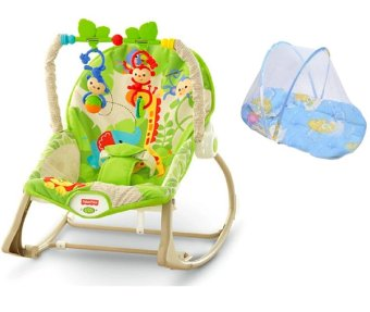 Fisher-Price Rainforest Friends Infant to Toddler Rocker WithMedium Baby Cradle Bed Mattress with Pillow and Mosquitto Net(Multicolor)