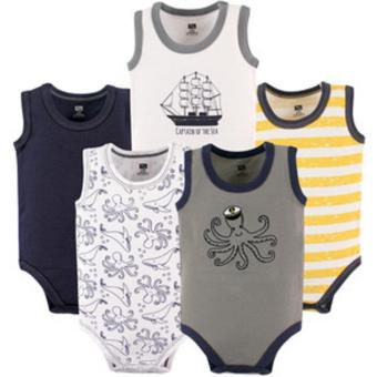 Hudson Baby 55176 Sleeveless Bodysuits Boy 5-pack Sea Captain for 0to 3 Months Old