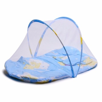 J&A Folding Newborn Baby Bed With Pillow Mat Net - Blue
