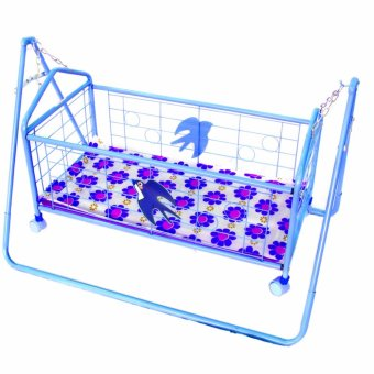 JH Baby Cradle Rocking Crib Bassinet Bed Sleeper Portable Nursery(Blue) with Mosquito Net