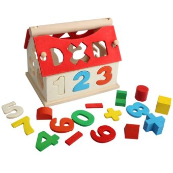 Kid Building Block Numbers Multicolor Wooden Toy House Intellectual Souptoy