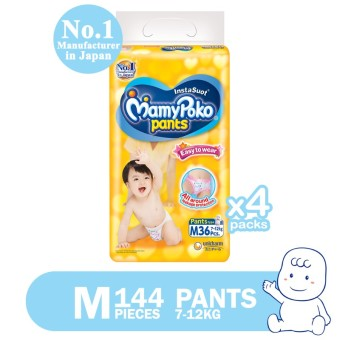 MamyPoko Easy to Wear Pants Diaper Medium 36's Pack of 4