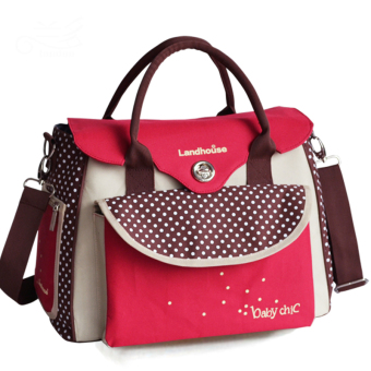 Multifunctional Baby Diaper Nappy Changing Bag Mummy Handbag Tote Shoulder Bags (Red)