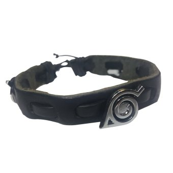 Naruto - Kohoha Symbol Leather Bracelet ( Black )