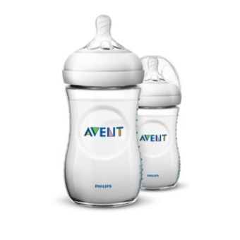Philips Avent Natural Baby Bottle 2 Bottles, 9oz/260ml, Extra SoftSlow Flow Nipple, 1m+ SCF693/23 (Clear)
