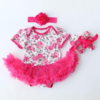 Rose Flower Newborn Baby Girls Romper Tutu Dress Jumpsuit OutfitsClothes - intl