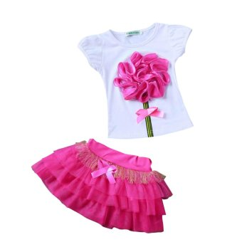 Summer Kids Girls Tutu Dress Plus T-shirt Big Flower Decoration OnTop Tulle Dress Kids meninas For Girls Tutu(Rose) - intl