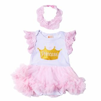 Tutu Dress Princess with Headband (White/Pink) for Baby 12 to 18Months Old