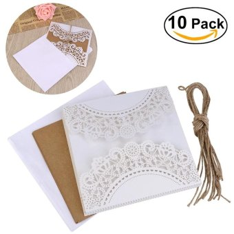 UEETEK 10Pcs European Style Hollow Out Decorative Pattern Wedding Invitation Card Greeting Card Congratulation Card with Envelope & Hessian Ropes (White) - intl