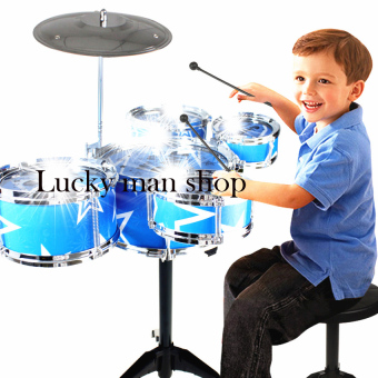USA TOP ONE LAZADA BEST Jazz Drum+Chair Kids Early Education ToyPercussion Instrument Gift Blue